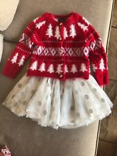Cynthia Rowley Girls Holiday Cardigan Sweater and Tulle Skirt Set Size 24mos EUC