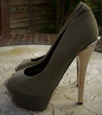 MISS K G Olive Green Grey Canvas Peep Toe Very High Gold Heel Court Shoes Size 3