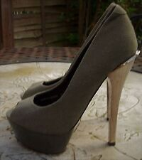MISS K G Olive Green Canvas Peep Toe Very High Gold Heel Court Shoes Size 3