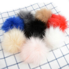 1pc Faux Fox Fur Pom Pom with Press Button Fake Fur Hat Bubble Removable Pretty