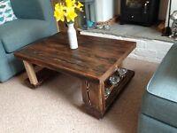 Coffee table, Solid Wood, Oak, Walnut, Rustic 90x60, Chunky Handmade Distressed