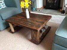 Coffee table, Solid Wood, Dark Walnut Rustic 90x60x35, Chunky Wood, Distressed