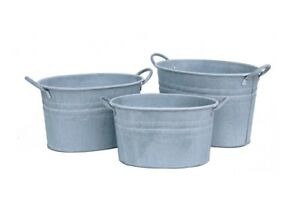 Metal Plant Pot Oval Tub Flower Vase Planter Jug Watering Can Tidy Trug Bucket