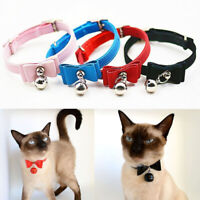 Small Pet Cat kitten Collar velvet bow tie safety Bowtie Bell 6 Color Adjustable