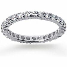 1 carat Round Diamond Ring Eternity Band size 7, 14k White Gold G color SI1