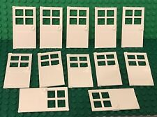 Lego X12 White Door 1x4x6 With 4 Panes And Stud Handle Bulk Lot (no Frames Part)