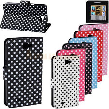 For Galaxy Note II N7100 Case Wallet Stand Leather Polka Dots PU Pouch Cover