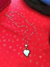 Turquoise Stone Heart Pendant Necklace Vintage Sterling Silver Ati Mexico