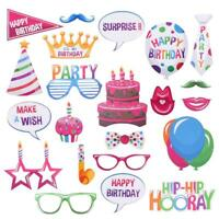 22Pcs Happy Birthday Photo Booth Props Photography Party Decoration Selfie Kit