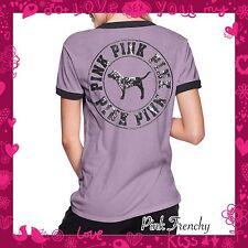 VICTORIA'S SECRET Pink Ringer Crew Tee Bling Sequins Shirt Top Medium Lavender