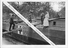 PHOTO HOSPITAL BARGE FRANCE WWI British Ambulance Barge TAKING CASUALTY ON BOARD