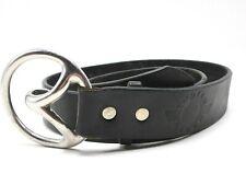 Mens Indian River Black Leather Belt Size 30 Large Silver Buckle