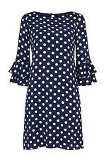 Wallis Navy Blue Polka Dot Flute Sleeve Dress 14