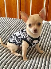 Chihuahua Tea Cup Size (XSmall size) Dog Clothes Black & White Skulls T Shirt