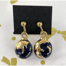 VINTAGE GOLD BLUE STONE DANGLE CLIP EARRINGS