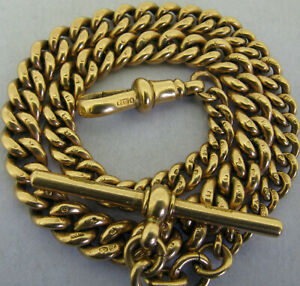 Antique Solid 9ct Rose Gold Albert Watch Chain & T-Bar Chester 1911 34 grams