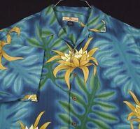 Tommy Bahama Blue Aloha Hawaiian Camp Shirt Silk Floral Monstera Leaves Sz L EUC