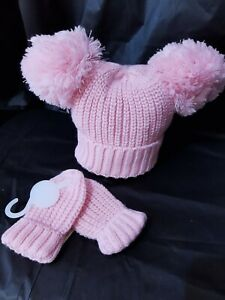 POMPOM BABY HAT & MITTENS, VARIETY OF COLOURS 0 TO 24 MONTHS