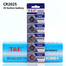 5pcs CR2025 3V Single-use Button Coin Cells Car Key Butteries Li-on Battery