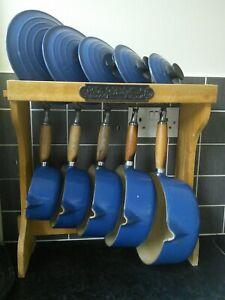 Le Creuset Blue saucepan set of 5 Vintage Cousances Range with stand
