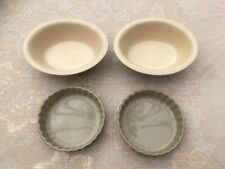Two Round Fluted Edge Pie Dishes and Two Oval Pie Dishes
