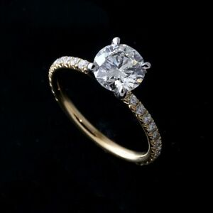 Two Tone Platinum Yellow Gold Diamonds Forever One Moissanite Engagement Ring