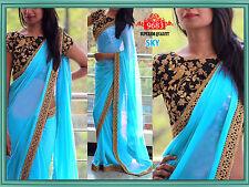 Último Bollywood Sari Indio Diseñador Georgette Bordado Partywear Saree