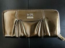 New Coach Madison Patent Leather Zip Around Accordion Wallet, Gold Bronze Color