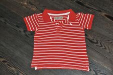 BOYS H&M RED WHITE STRIPED POLO SHIRT SIZE 12-18 MONTHS