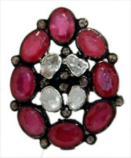 Style Natural Ruby Uncut Diamond Ring 925 Silver Rose Cut Victorian Antique