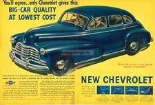 1946 Chevrolet Chevy FLEETMASTER Blue 4-Door Hardtop Centerfold VTG PRINT AD