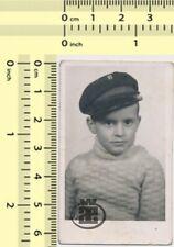 #051 1940's Boy with School Cap Kid Child Portrait vintage photo old original