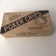 Vintage Styrene Interlock Poker Chips #353 100 Regulation Size Original Box