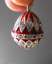 """Faberge inspired Russian Egg Pendant /Charm bejeweld Red Easter gift idea 7/8"""""""