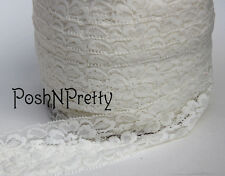"5 YDS 2"" Premium Lace Stretch Floral Lingerie Garter Headband Elastic - Cream"