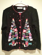 Vintage Tacky Ugly Christmas Sweater - Small Black Victoria Jones Party Winner !