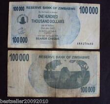 ZIMBABWE100000 DOLLAR RARE OLD BANK NOTE WITH SOME WEAR AND TEAR # 334