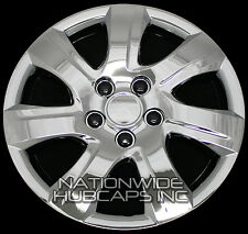 "4 New CHROME Plated 16"" Hub Caps Full Wheel Covers Rim Cap Black Lug Cover Hubs"