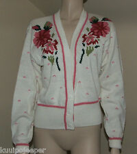 SEGUE WOMEN'S SWEATER IVORY WITH FLORAL ACCENTS ON EACH SIDE OF FRONT SIZE LARGE