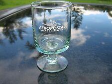 "AEROPOSTAL ALAS DE VENEZUELA    3.75"" TALL STEMMED  CLEAR  GLASS WHITE  LOGO"