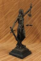 Signed Mayer Large Blind Justice Bronze Marble Sculpture Statue Figurine Decor
