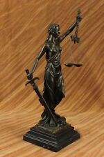Statue of Blind Justice by Mayer Solid Bronze Collectible Sculpture Home Office