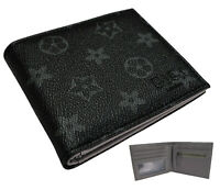 Men's Black Star Design Wallet Faux Leather ID Card Cash & Zip Coin Pouch Gift