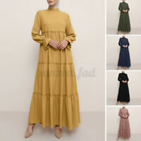 UK Women Muslim Islamic Abaya Kaftan Tiered Layered Casual Loose Long Maxi Dress