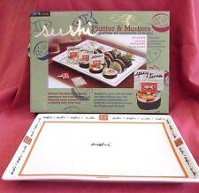 NIB-Joie de Vivre-White Porcelain Sushi Platter & Reusable Name Markers