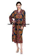 Indian Cotton Peacock Mandala Hippie Long Kimono Bath Robe Nightwear Gown Dress