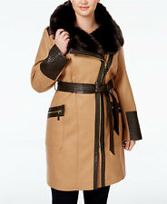 Via Spiga Plus Size 18W Faux-Fur-Collar Asymmetrical Belted Coat NWT Orig $440