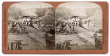 c.1860's STEREOVIEW SV - HOUSEWORTH - CPRR TRAIN ON LONG RAVINE BRIDGE 1341