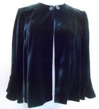 Vintage Armani Italy Black Velvet Silk Lined Swing Crop Bolero Blazer Size 6