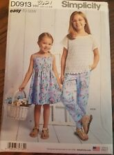 Simplicity pattern D0913 8621 sizes 3-6 Girl's dress, top, pants, and knit camis